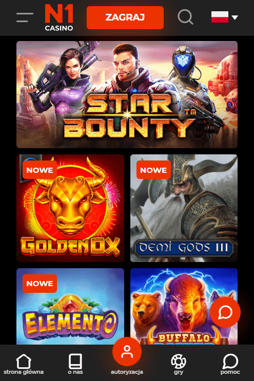 Games at the N1 Casino app